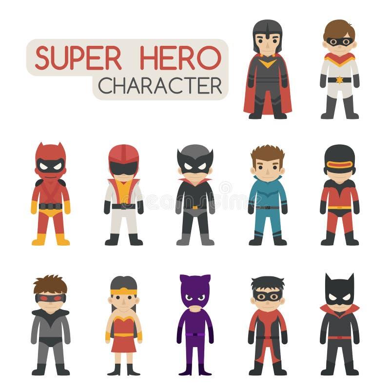 Reeks super karakters van het heldenkostuum royalty-vrije illustratie