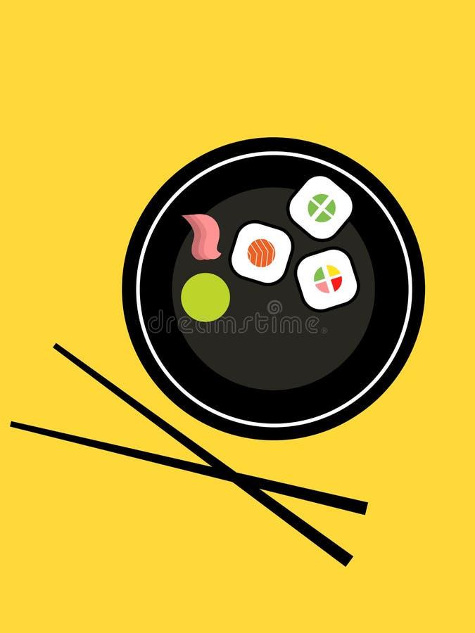 Reeks sushi op een schotel vector illustratie