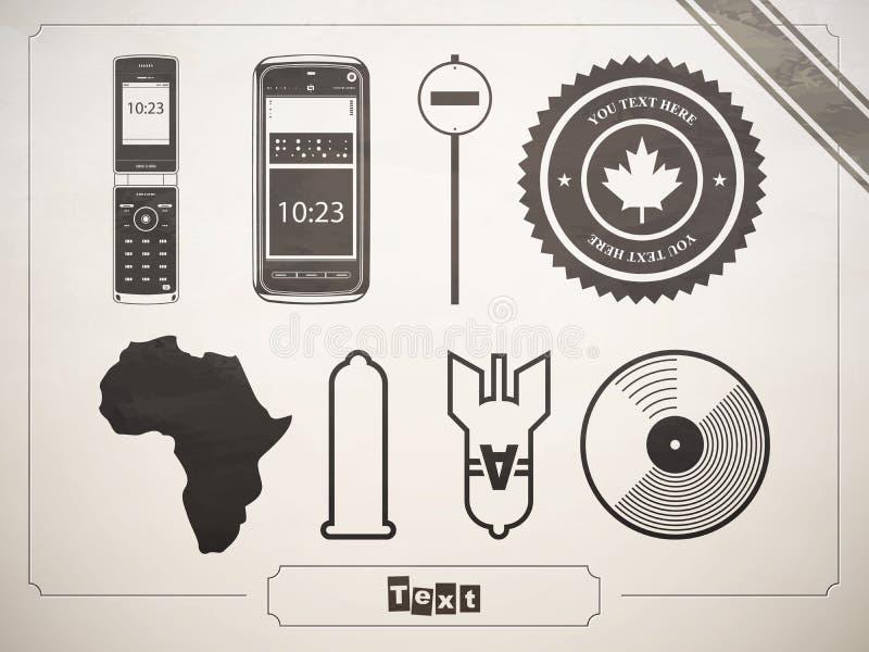 Reeks symbolen, tekens en pictogrammen. Telefoon, een condoom stock illustratie