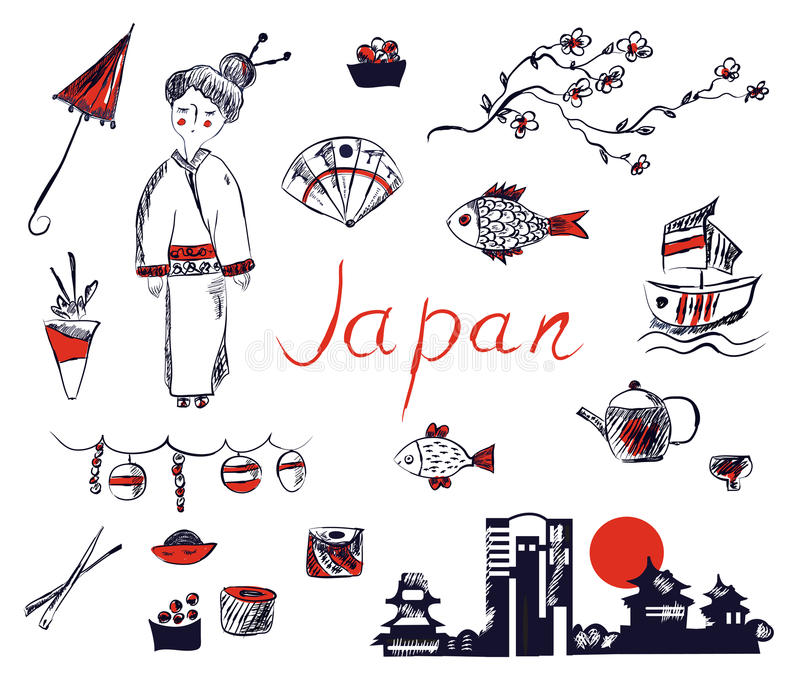 Reeks symbolen van Japan - hand getrokken ontwerp vector illustratie