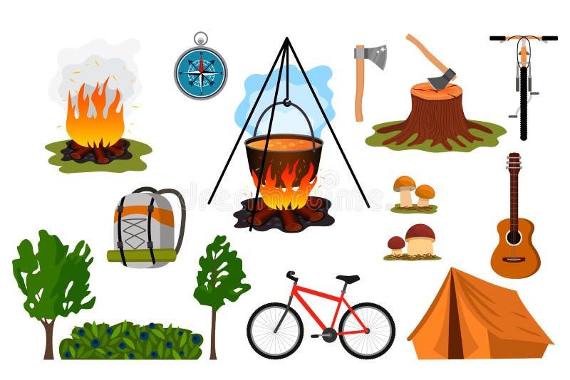 Reeks symbolen van wandelings groen toerisme die tent, kampvuur, rugzak, ketel, kompas zijn Vlakke vectorillustratie vector illustratie