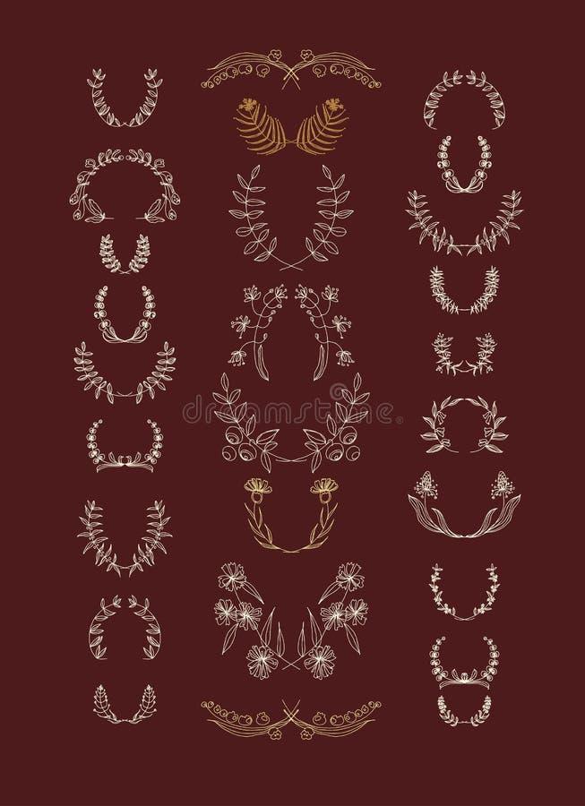 Reeks symmetrische bloemen grafische ontwerpelementen vector illustratie