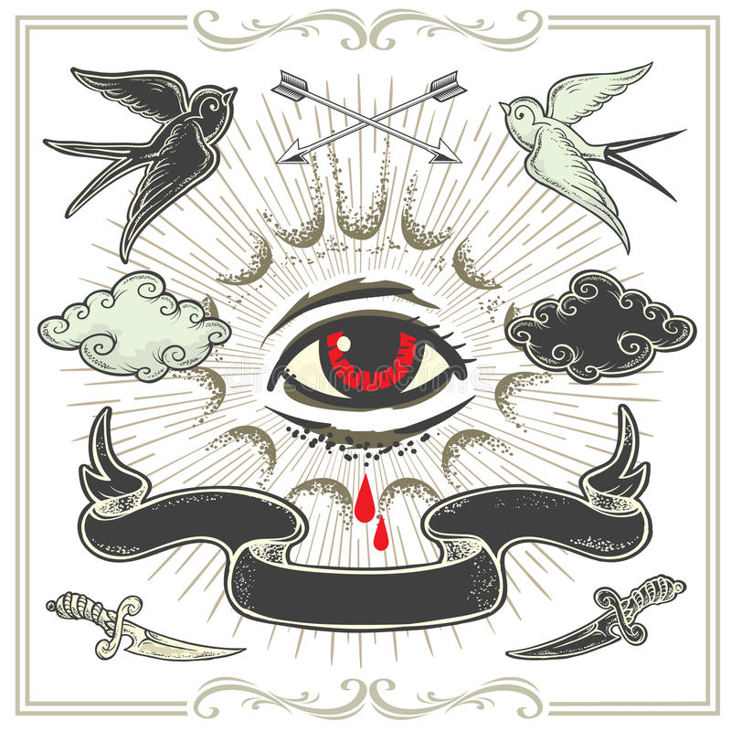 Reeks tatoegering-Kunst ontwerpelementen vector illustratie