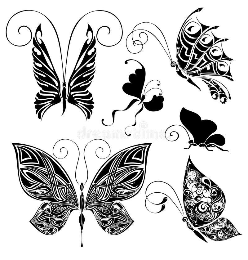 Reeks tatoegeringsvlinders royalty-vrije illustratie