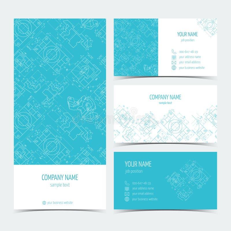 Reeks techniekadreskaartjes, vliegers, pamfletten met de tekeningen Blauwe kleur Vector royalty-vrije illustratie