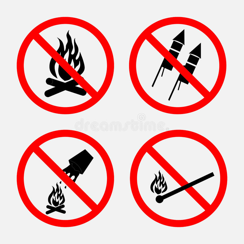 Reeks tekens die brand, belemmerd vuurwerk belemmeren, stock afbeeldingen