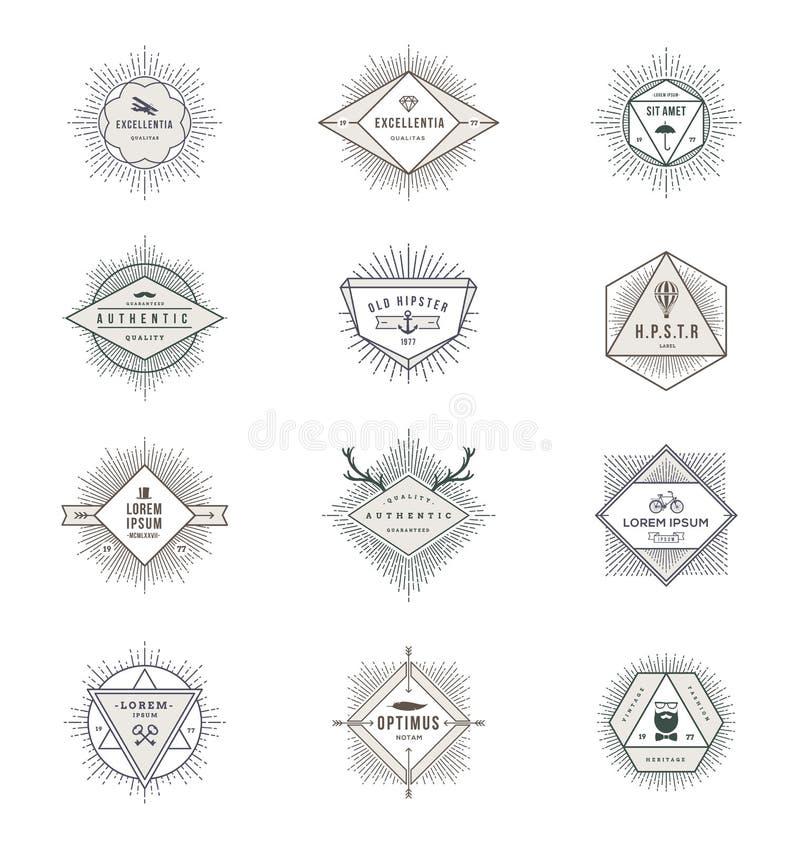 Reeks tekens en emblemen met hipstersymbolen vector illustratie