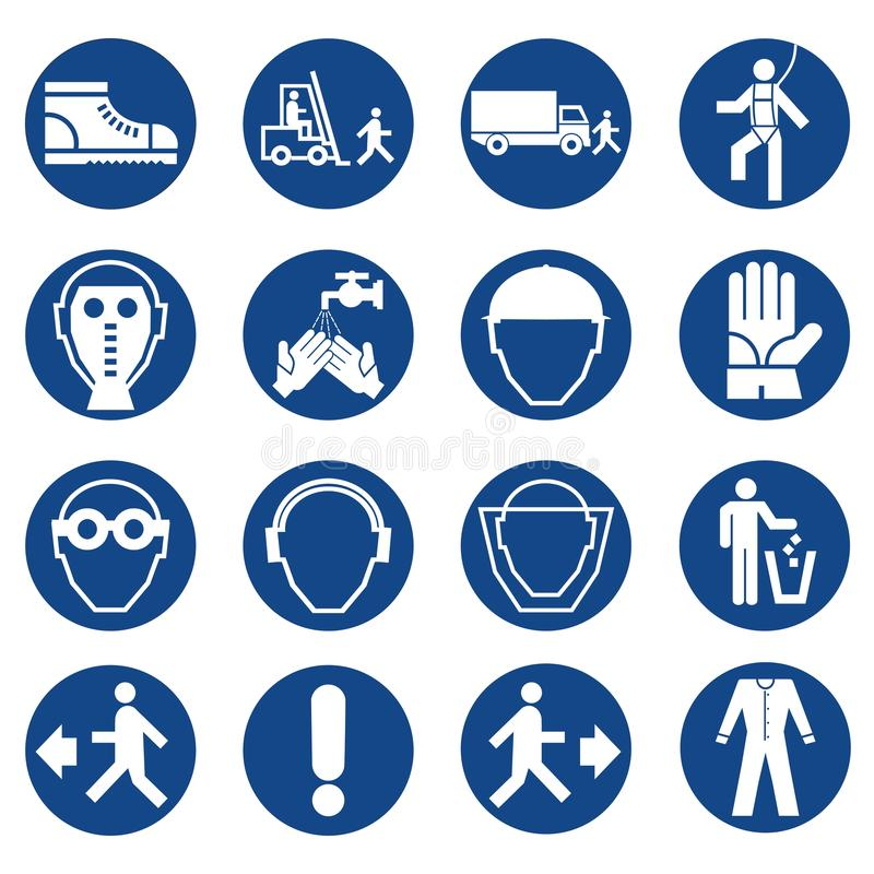 Reeks tekens van het veiligheidsmateriaal Verplichte bouw en de industrietekens Inzameling van veiligheid en beschermings van de  stock illustratie