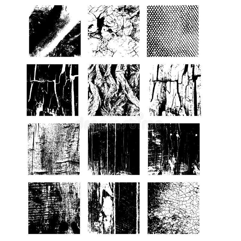 Reeks Textuurzegel eps 10 Grunge en houten vormen stock illustratie