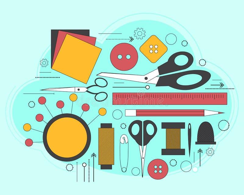 Reeks toebehoren voor naaiende en met de hand gemaakte document kaart met kleermakerijtoebehoren Lijnart. Vector royalty-vrije illustratie