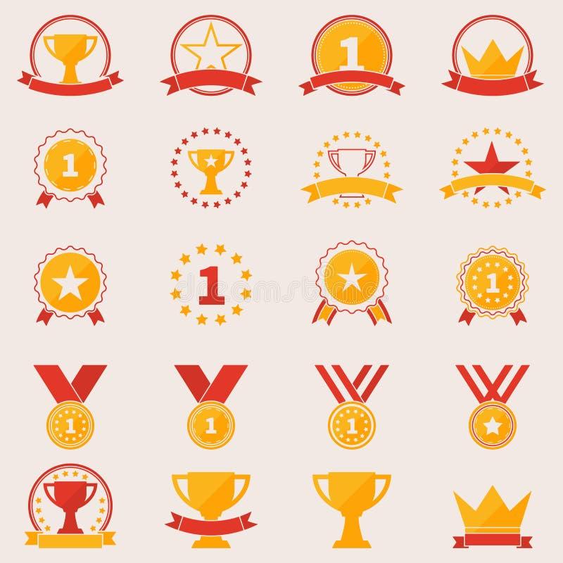Reeks toekenning en overwinningspictogrammen stock illustratie