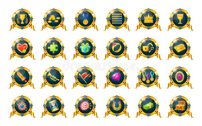 Reeks toekenning, kentekens, medailles van verwezenlijkingen voor spelen stock illustratie