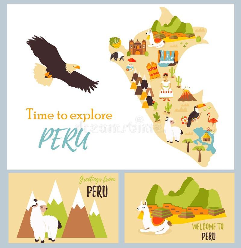 Reeks toeristenkaarten van Peru met oriëntatiepunten stock illustratie