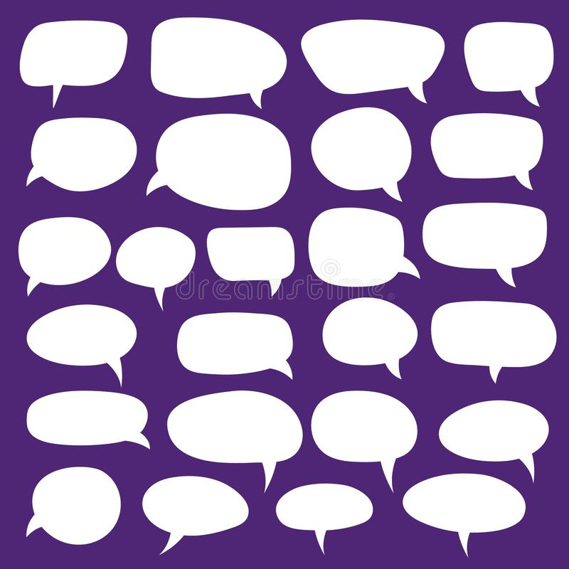 Reeks toespraakbellen Lege lege vector witte toespraakbellen Het woordontwerp van de beeldverhaalballon stock illustratie