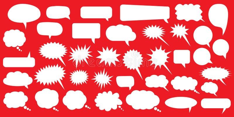 Reeks toespraakbellen Lege lege witte toespraakbellen Het woordontwerp van de beeldverhaalballon vector illustratie