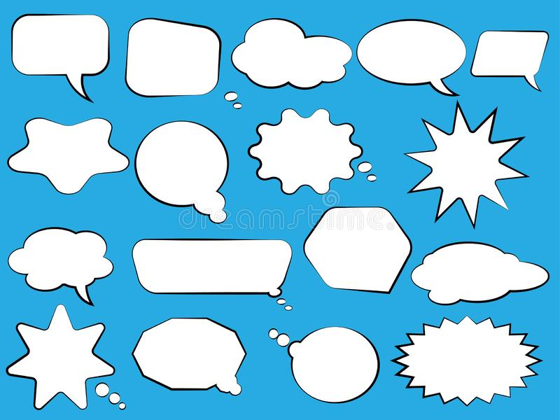 Reeks toespraakbellen Lege lege witte toespraakbellen Het woordontwerp van de beeldverhaalballon stock illustratie