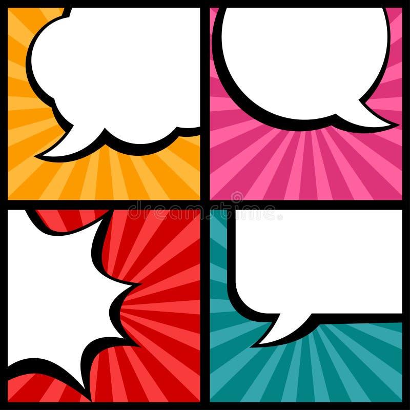 Reeks toespraakbellen in pop-artstijl vector illustratie