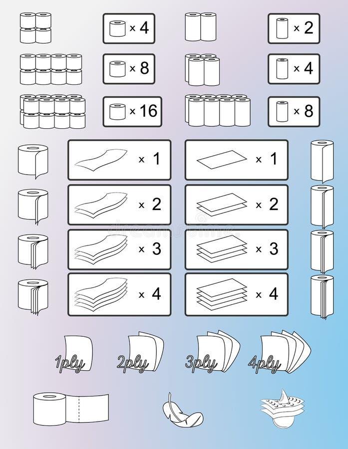 Reeks toiletpapier en keukenrollen die tekens, symbolen en pictogrammen verpakken Geïsoleerdeo illustratie Vector vector illustratie