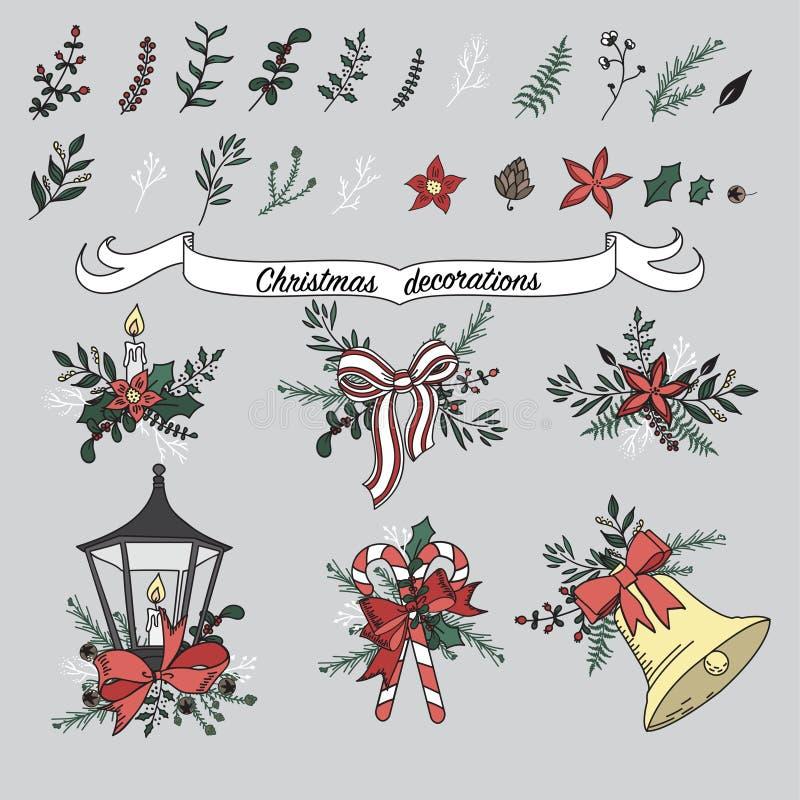 Reeks traditionele decoratie van het Kerstmisbeeldverhaal stock illustratie