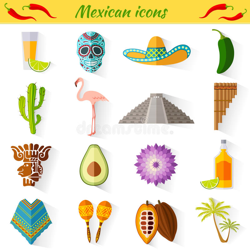 Reeks traditionele nationale symbolen van Mexico stock illustratie