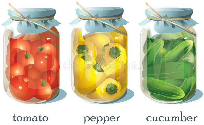 Reeks transparante blikken met groenten royalty-vrije illustratie