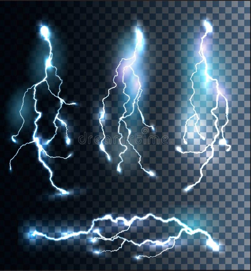 Reeks transparante elektrische bliksembouten stock illustratie