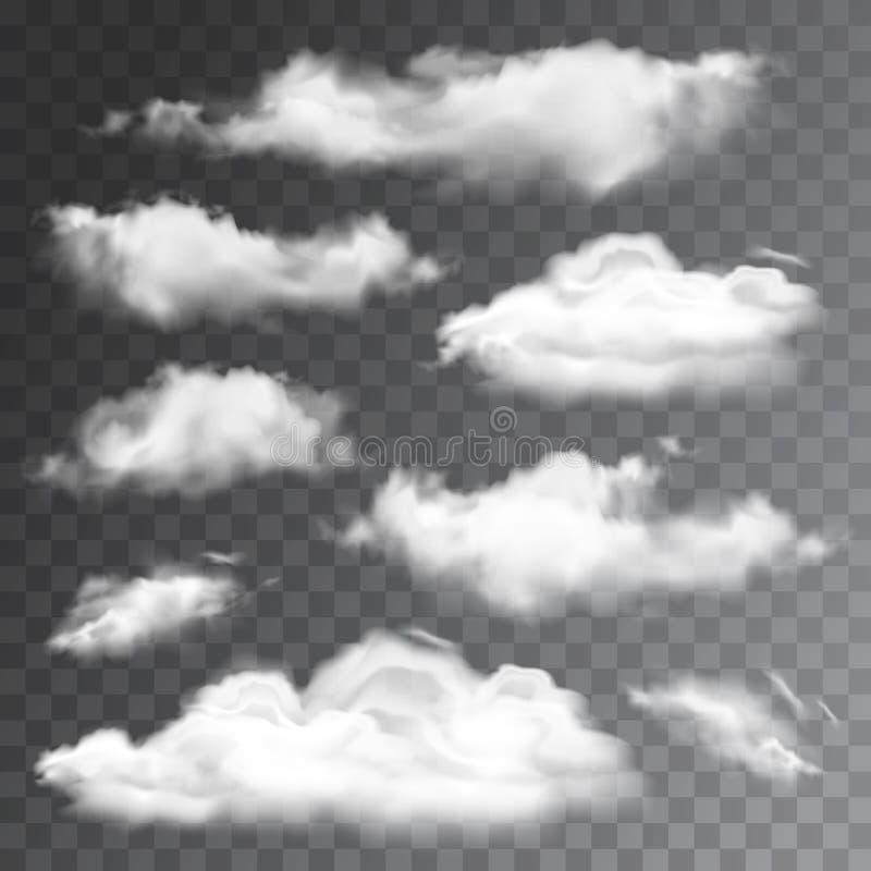 Reeks transparante realistische wolken Vector illustratie stock illustratie