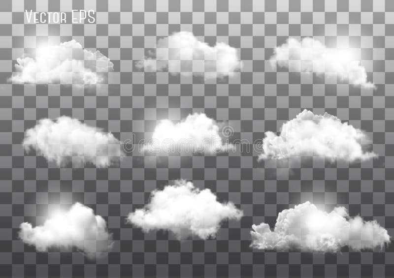 Reeks transparante verschillende wolken