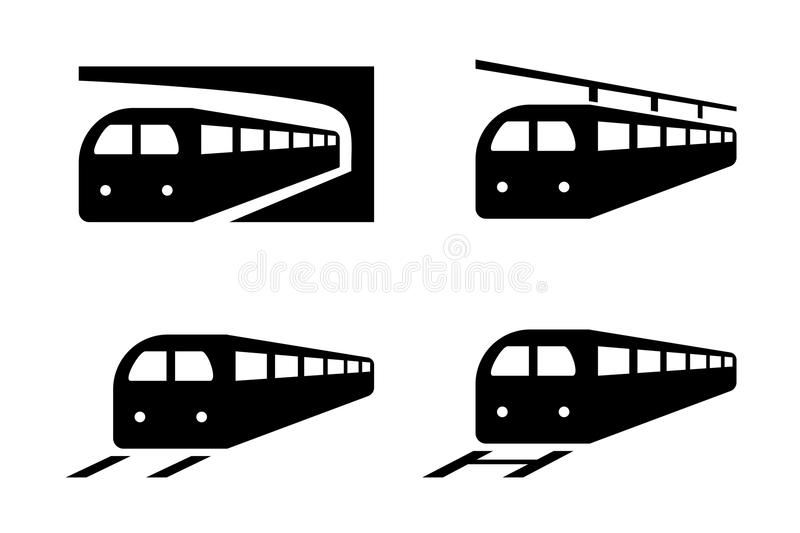 Reeks treinpictogrammen in silhouetstijl, vector stock illustratie
