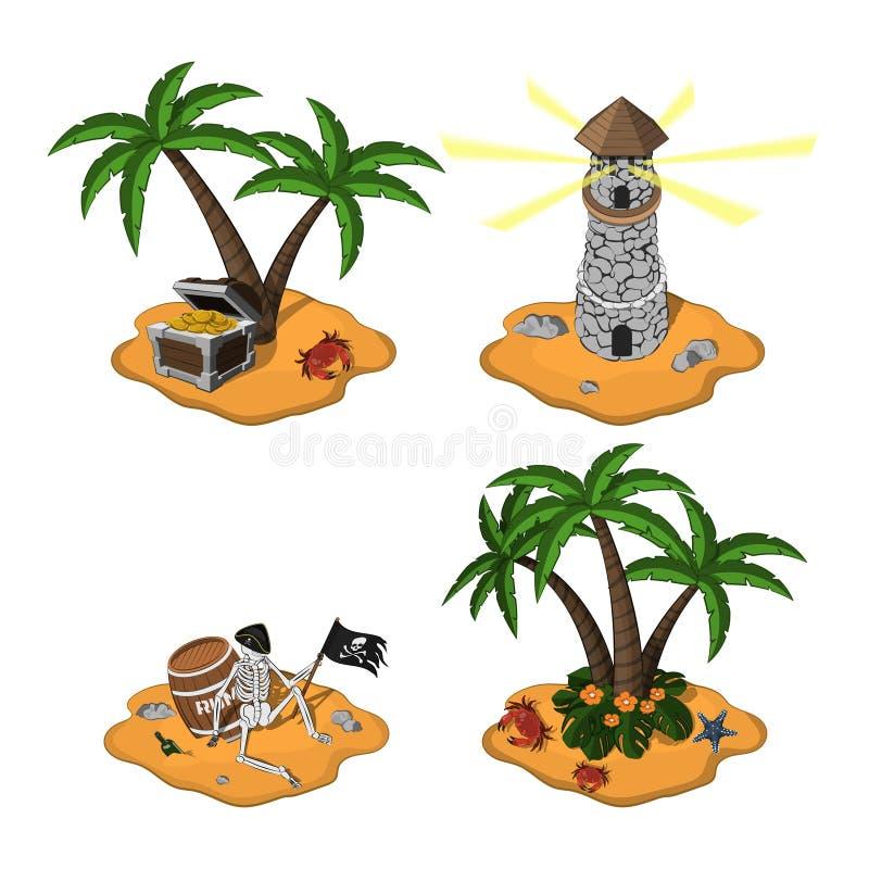 Reeks tropische eilanden in beeldverhaalstijl op witte achtergrond Piraateiland in isometrische mening Mobiel spel vector illustratie