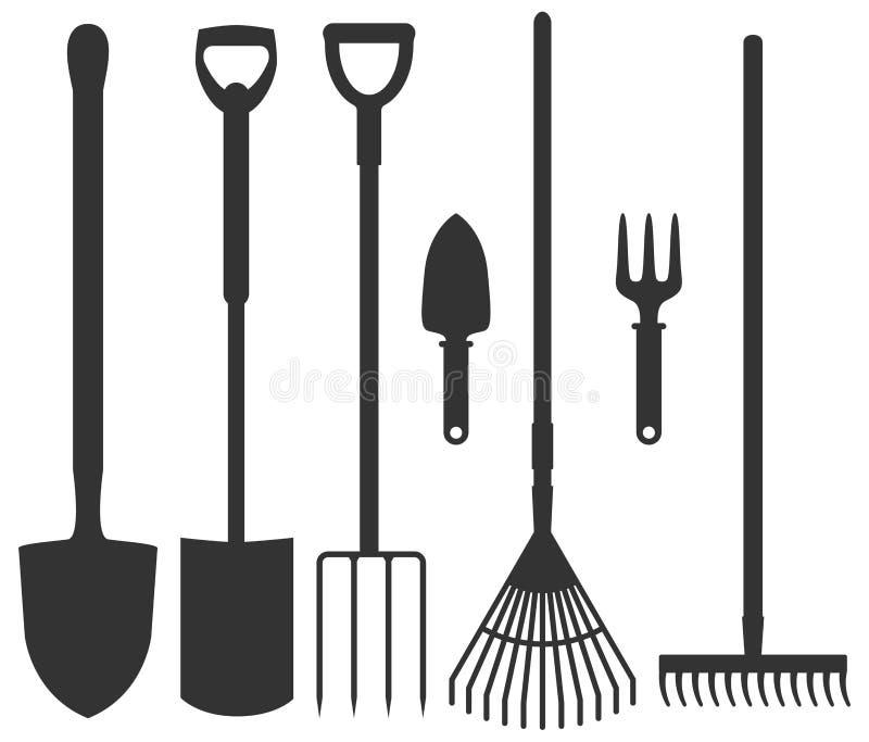 Reeks tuinhulpmiddelen: spade, harken, hooivorken, schoppen Vector i stock illustratie