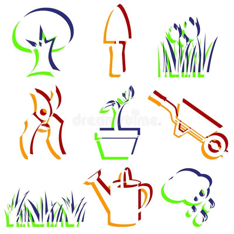 Reeks tuinpictogrammen. stock illustratie