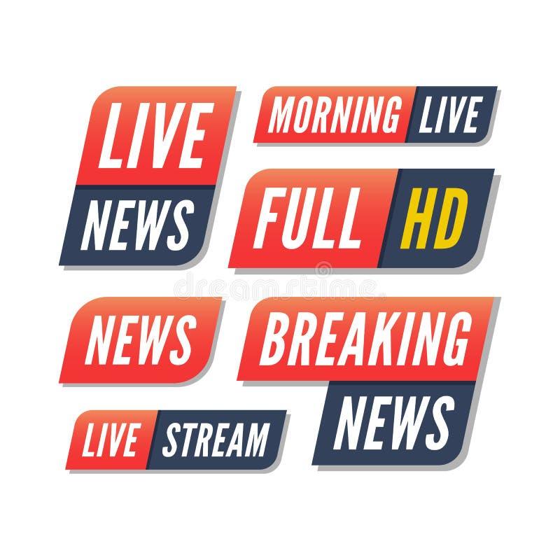 Reeks TV-banners brekende levende nieuwsemblemen vector illustratie