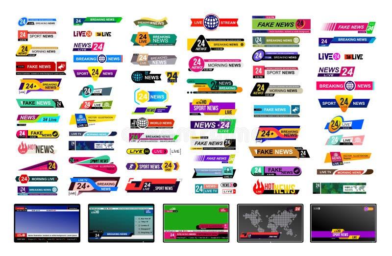 Reeks TV-nieuwsbars Het teken van het ontwerpnieuws, het stromen video Het breken, vervalsing, sportnieuws Interfaceteken Modelma stock illustratie