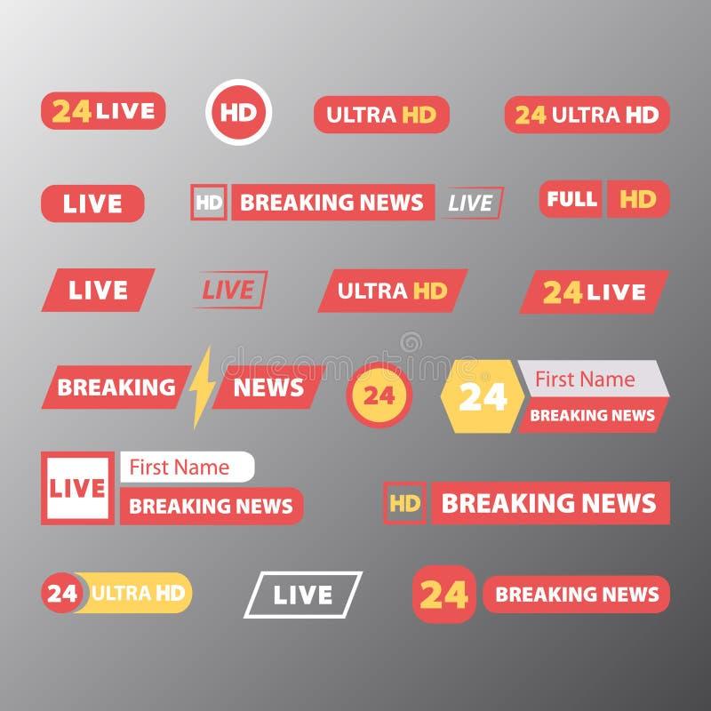 Reeks TV-nieuwsbars vector illustratie