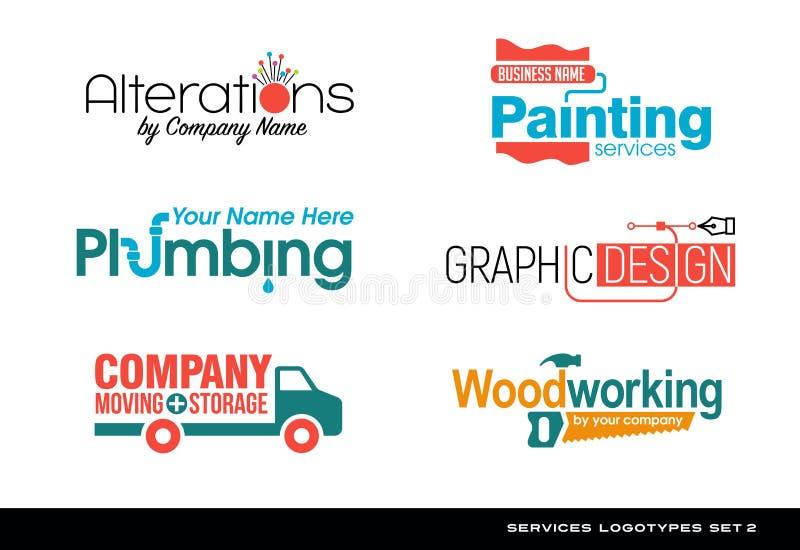 Reeks typografieemblemen voor diverse diensten royalty-vrije illustratie