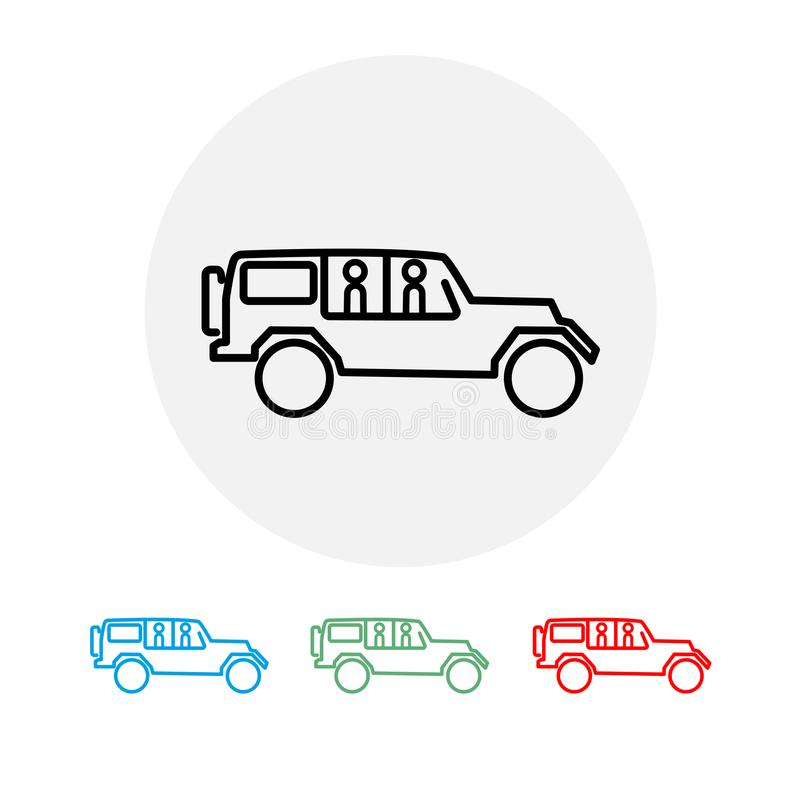 Reeks uit wegauto's met twee passagiers Vector illustratie royalty-vrije illustratie