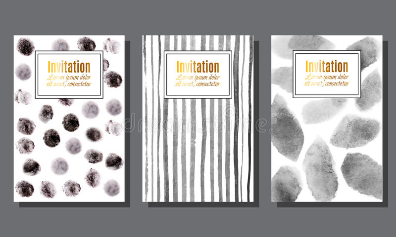 Reeks uitnodigingskaarten met zwart-wit waterverfvlekken en streptokok stock illustratie