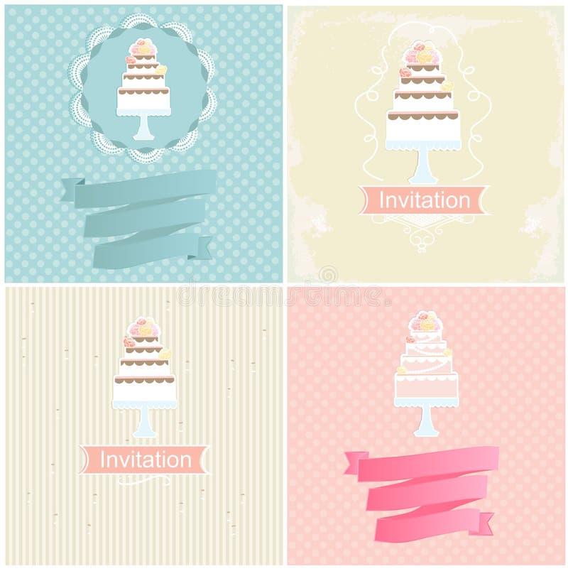 Reeks uitnodigingsontwerpen met cakes vector illustratie