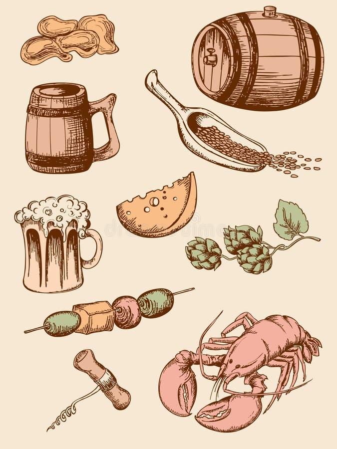 Reeks uitstekende bierpictogrammen stock afbeelding