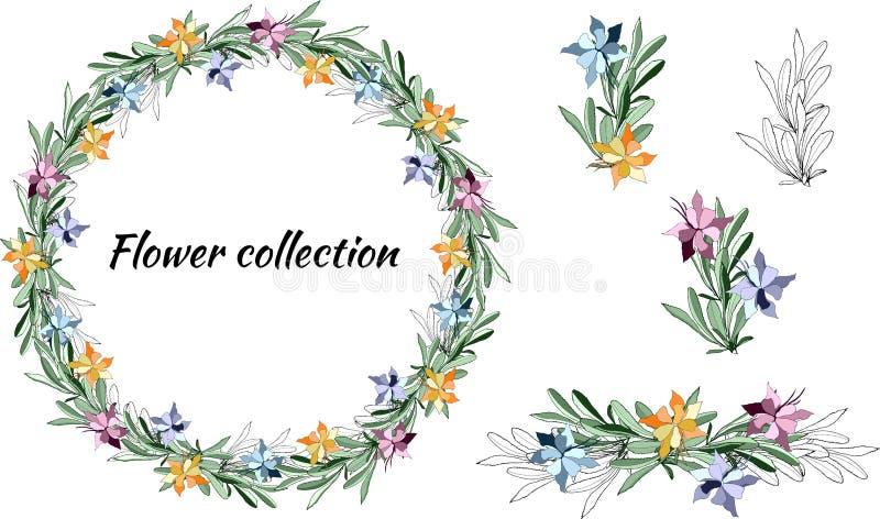 Reeks uitstekende bloemenpatronen Vectorkroon van kleurrijke bloemen en groene bladeren Vectorborstel voor het verfraaien van kaa royalty-vrije illustratie