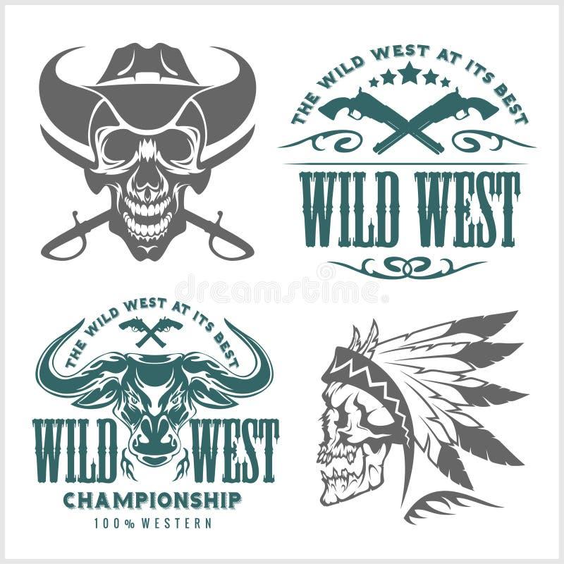 Reeks uitstekende cowboyemblemen, etiketten, kentekens, emblemen en ontworpen elementen Wild het westenthema vector illustratie