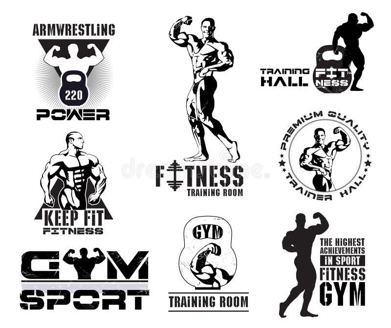 Reeks uitstekende de ruimteemblemen van Bodybuilding en van de geschiktheid, ontwerpelementen stock illustratie