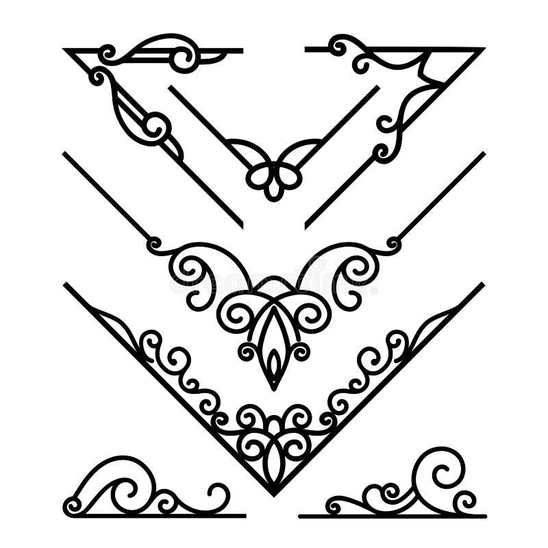 Reeks uitstekende decoratieve hoekelementen royalty-vrije illustratie