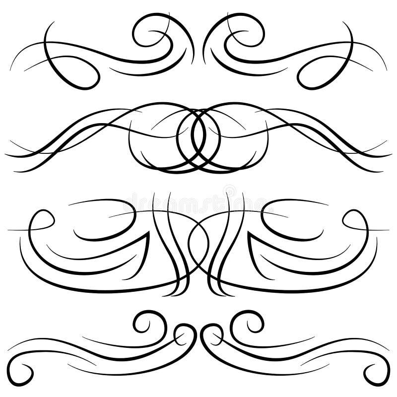 Reeks uitstekende decoratieve krullen, wervelingen, monogrammen en kalligrafische grenzen stock illustratie