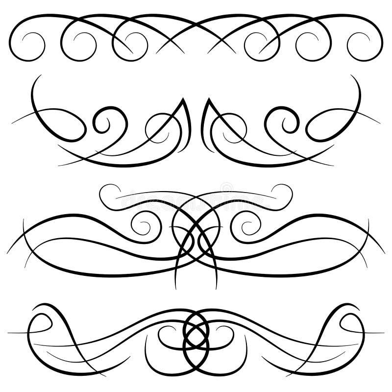 Reeks uitstekende decoratieve krullen, wervelingen, monogrammen en kalligrafische grenzen royalty-vrije illustratie
