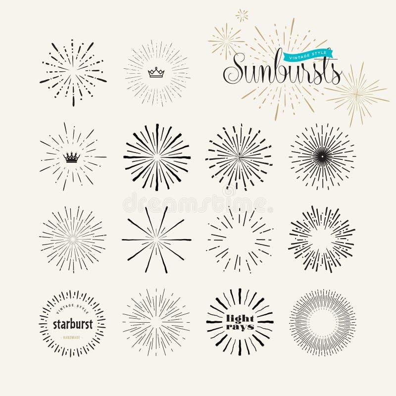 Reeks uitstekende elementen van de stijlzonnestraal voor grafisch en Webontwerp stock illustratie
