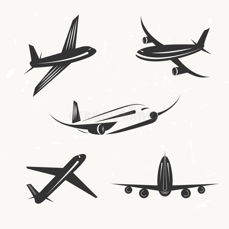 Reeks uitstekende elementen van het vliegtuig vectorontwerp, emblemen, travel ag stock illustratie