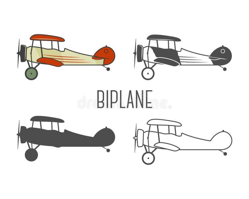 Reeks uitstekende elementen van het vliegtuigenontwerp retro stock illustratie