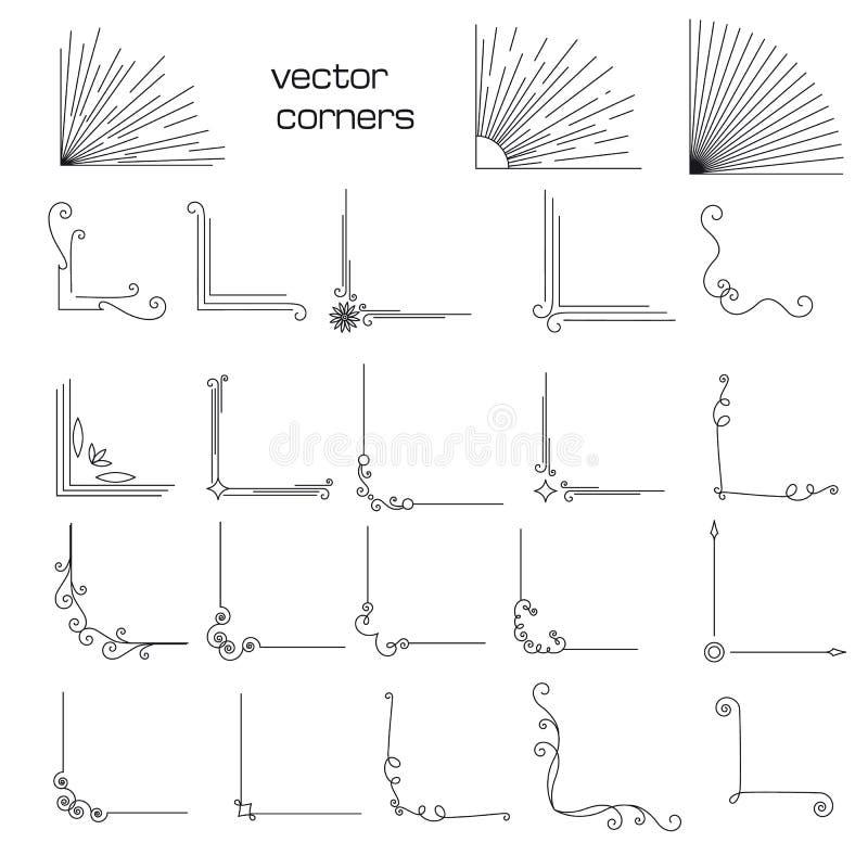 Reeks uitstekende elementenhoeken stock illustratie